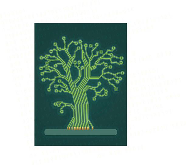 Green Circuit Board Tree vector art illustration