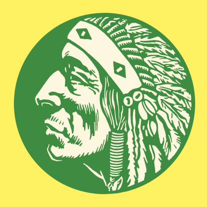 Green, circular image with green Native American man profile