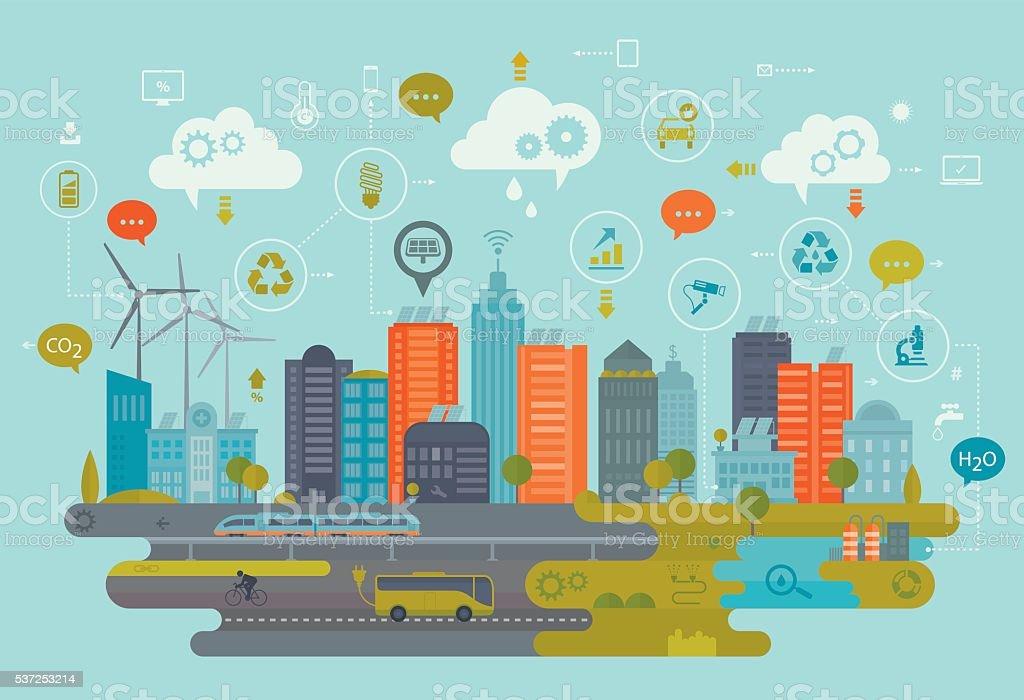 Cidade verde e a tecnologia inteligente - ilustração de arte em vetor