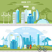 Green city banner. Eco city background, urban landscape. Future energy city, solar panels, windmills. Harmony ecology city and nature design template