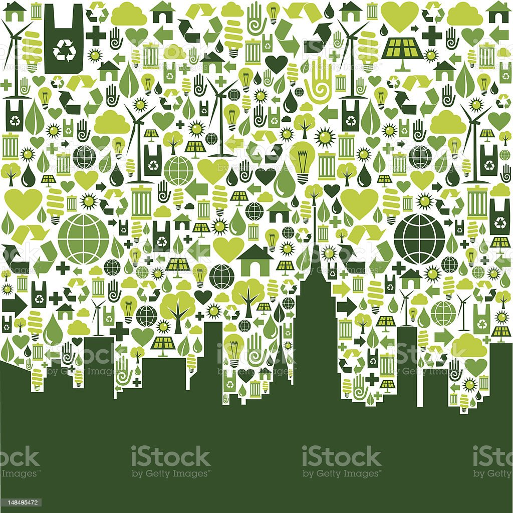 Green city eco icons background vector art illustration