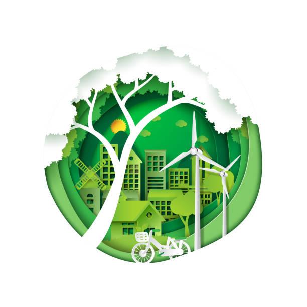 grüne stadt für umwelt naturschutz - umweltkonzept stock-grafiken, -clipart, -cartoons und -symbole