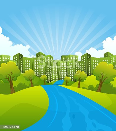 Vector illustration of a cartoon summer or spring country river going to green cityscape, for environment and ecology background. File is EPS10 and uses multiply transparency at 100% on shadow on towers. Vector eps and high resolution jpeg files included.