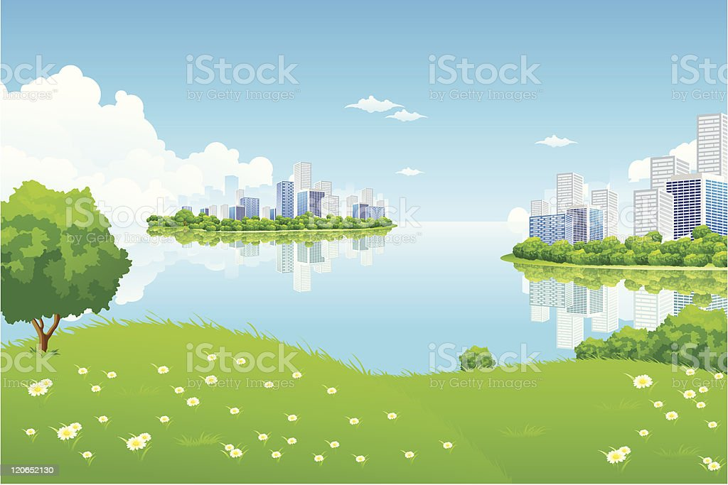 Green City Landscape royalty-free stock vector art