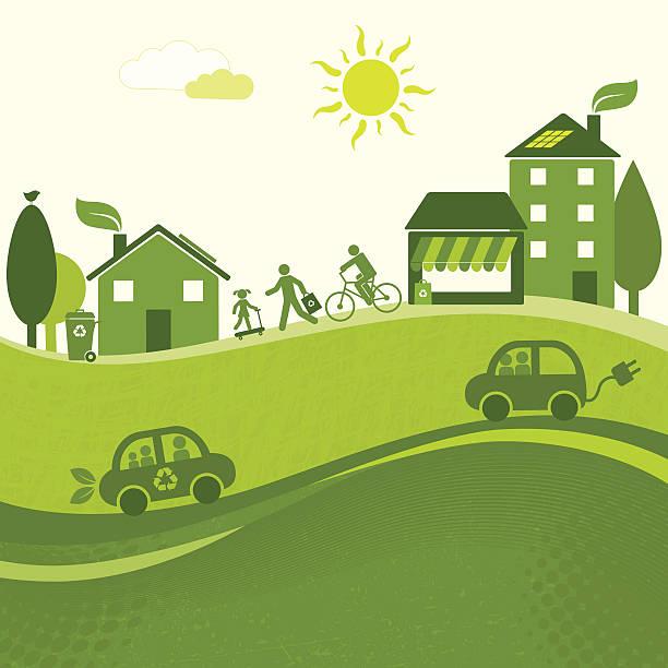Green City Landscape (GreenWorld Series) Landscape of a green city hybrid car stock illustrations