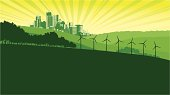 Wind Turbines and cityscape on stylised green of hills and trees with a sunburst  sky background. Art on easily edited layers. Don't want the turbines? - just click 'em off. Download also includes a large high res jpeg.