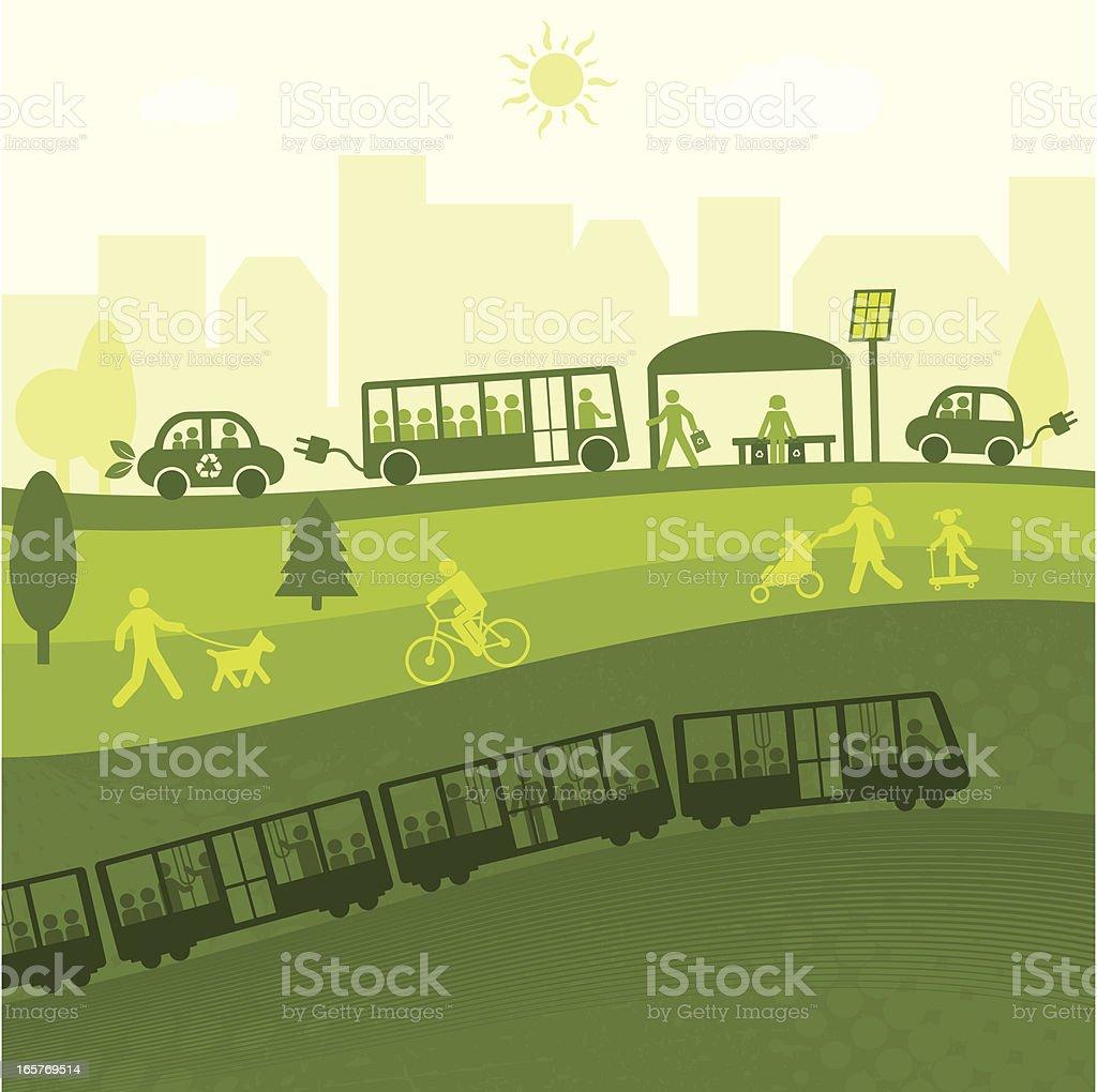 VIDA VERDE cidade (Green World Series - ilustração de arte em vetor