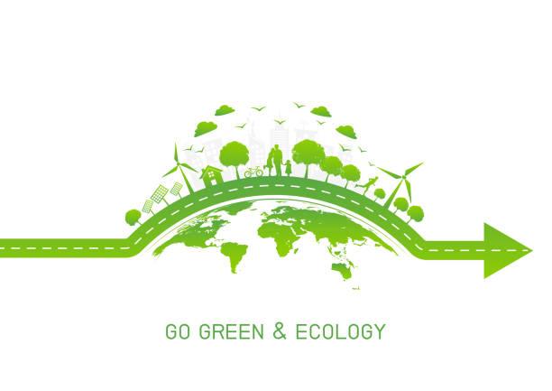 緑の移動とエコロジー ・ フレンドリー発想」ベクトル図のための地球の緑豊かな街 - 環境問題点のイラスト素材/クリップアート素材/マンガ素材/アイコン素材