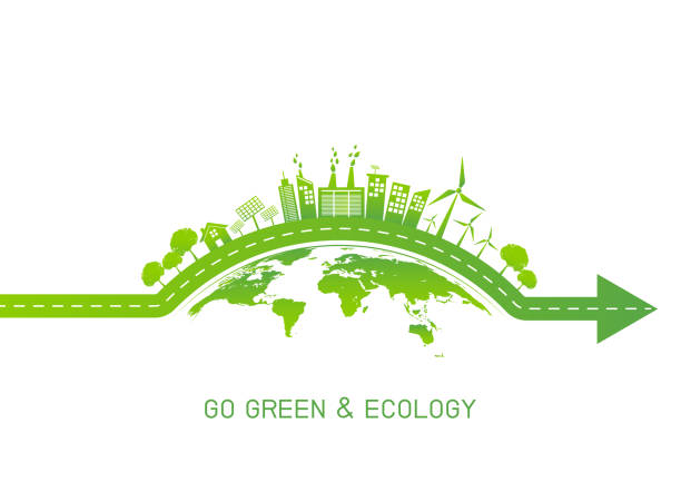 grüne stadt auf der erde für go green und freundliche ökologiekonzept, vektor-illustration - sustainability stock-grafiken, -clipart, -cartoons und -symbole