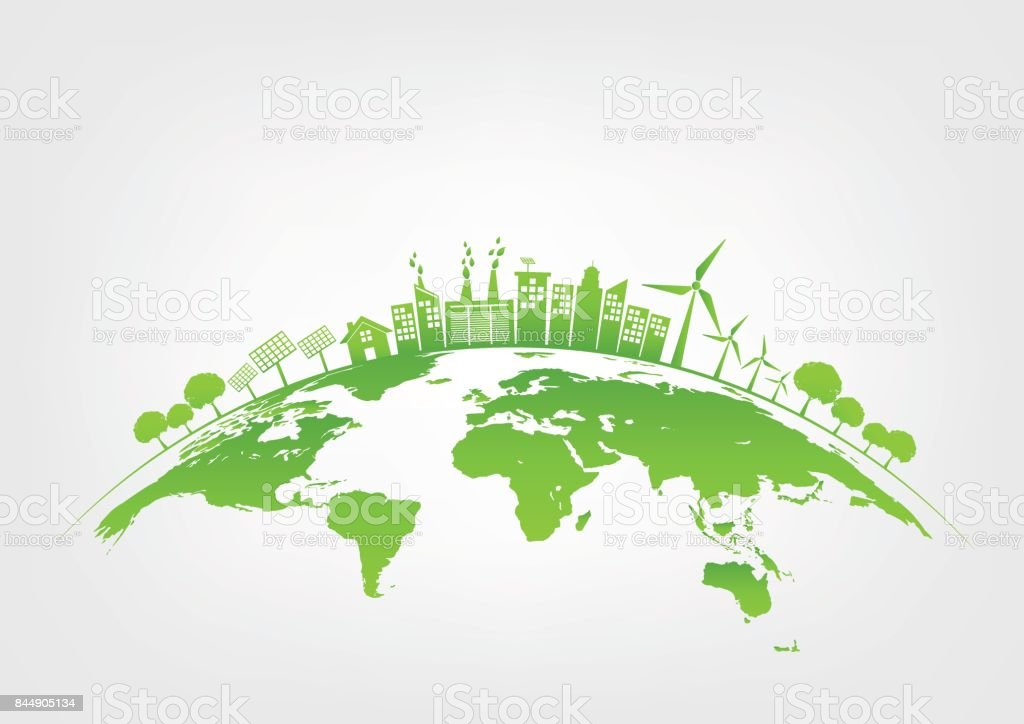 Green city on earth, World environment and sustainable development concept, vector illustration vector art illustration