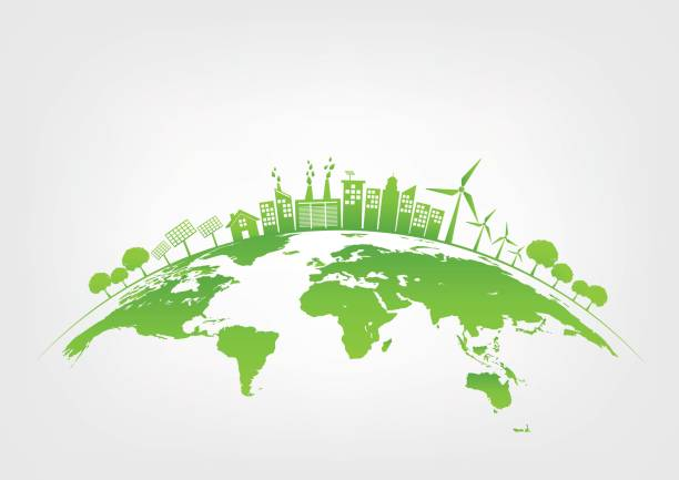grüne stadt auf der erde, welt-umwelt und nachhaltige entwicklungskonzept, vektor-illustration - sustainability stock-grafiken, -clipart, -cartoons und -symbole
