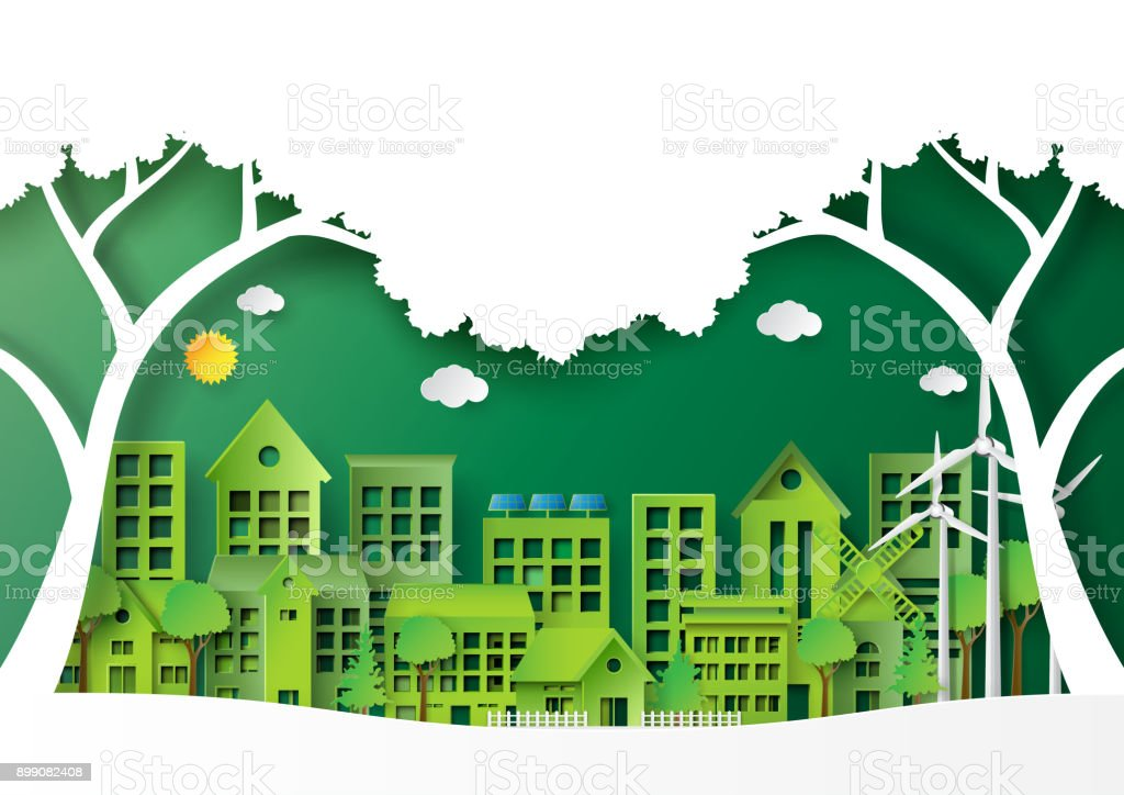 Green City On Landscape Scene Paper Art Background Royalty Free