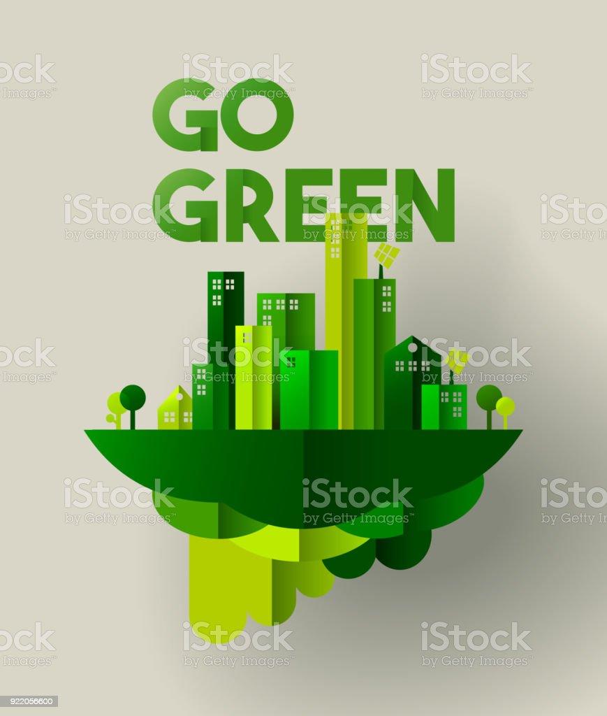 Grüne Stadt Scherenschnitt Konzept für die Pflege der Umgebung – Vektorgrafik