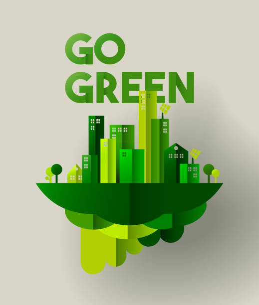 green city paper cut concept for environment care - architecture silhouettes stock illustrations