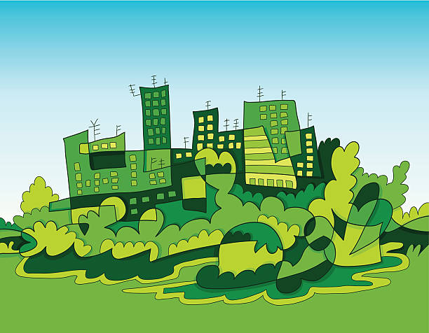 Green City Skyline Doodle Vector illustration: a fictional cityscape doodle. Line art, colors and sky background are on separate layers. The colors in the .eps-file are ready for print (CMYK). Included files: EPS (v8) and Hi-Res JPG. doodle NOT black and white stock illustrations