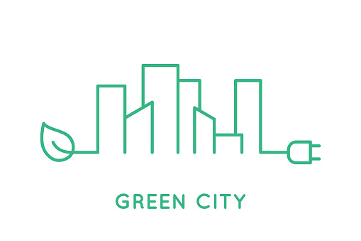 Green city skyline line icon. Cityscape with a leaf and a plug.