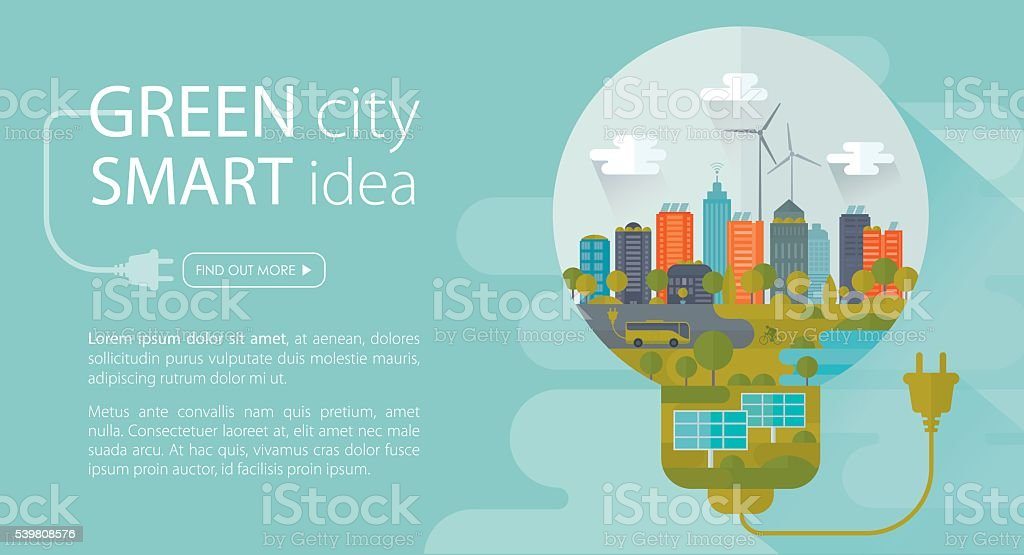 Green City Smart Idea Banner vector art illustration