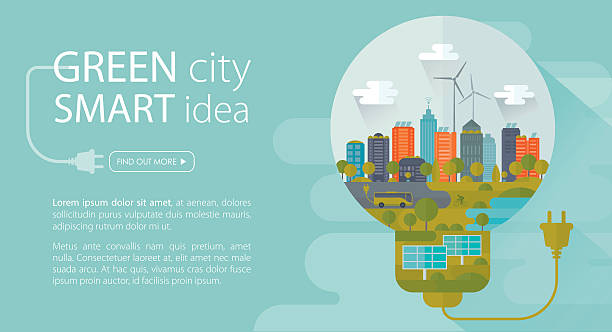 Green City Smart Idea Banner Banner with copy space text representing ecologically healthy city. Nicely layered. solar panels illustrations stock illustrations
