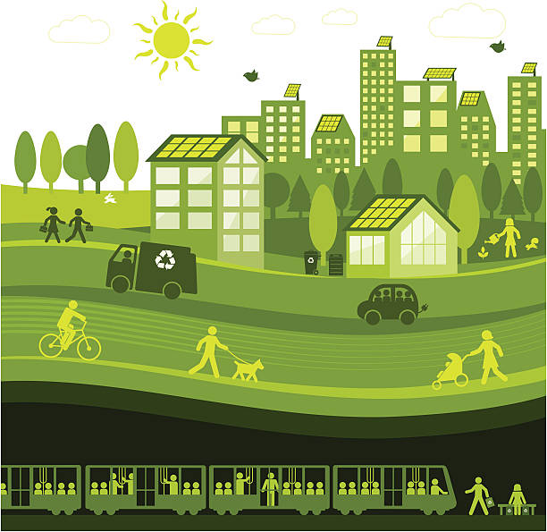 Green City View of a green city hybrid vehicle stock illustrations
