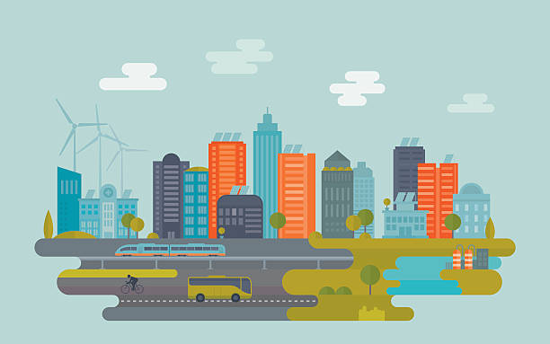 Green City Sustainable city concept. Nicely layered. cityscape stock illustrations