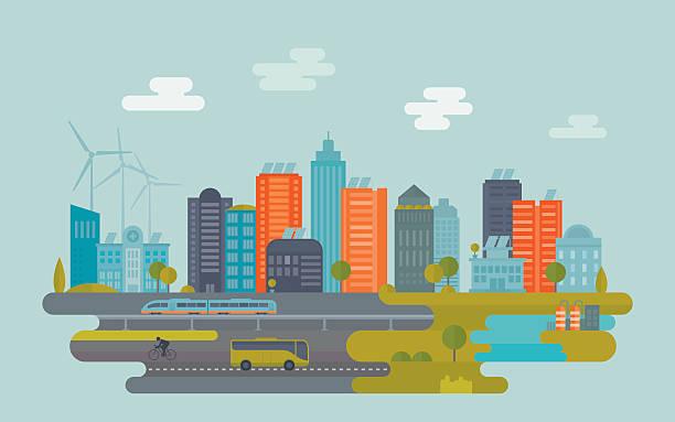 зеленый город - city stock illustrations