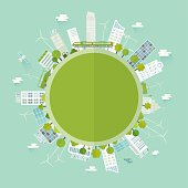 Sustainable city concept with circular text box in the middle. Nicely layered.