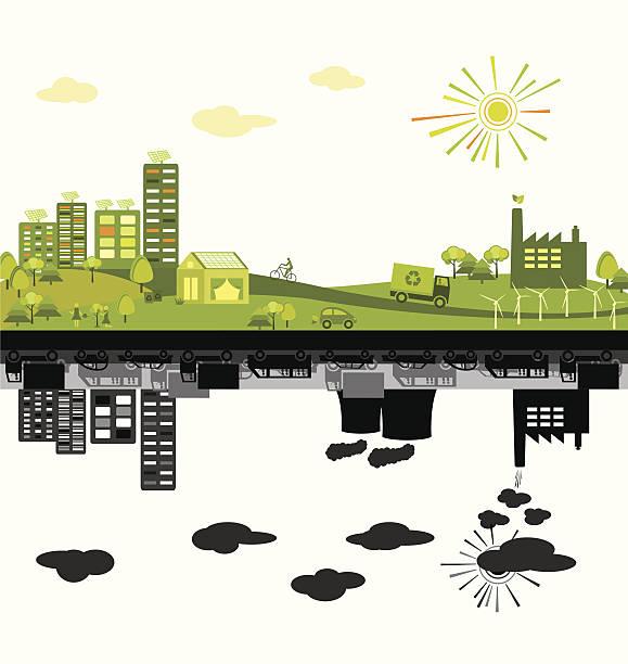 зеленый polluted city vs - ущерб окружающей среде stock illustrations