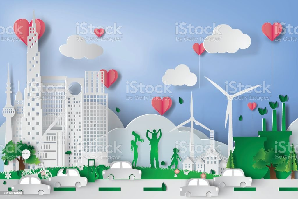 Green city  with eco concept elements. Vector,heart,pink,illustration vector art illustration