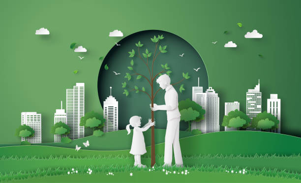 green city with family green city with mom and girl .paper cut and digital craft style. environment stock illustrations