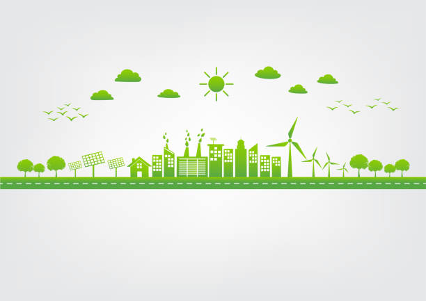 Green city, World environment and sustainable development concept, vector illustration Ecology concept with green city on road, World environment and sustainable development concept, vector illustration sustainable energy stock illustrations