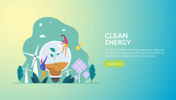 green clean energy sources. renewable electric sun solar panel and wind turbines. environmental concept with people character. web landing page template, banner, presentation, social, and print media. - sustainability stock illustrations