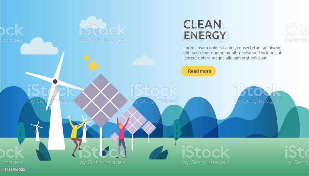 Green Clean Energy Sources Renewable Electric Sun Solar Panel And Wind  Turbines Environmental Concept With People Character Web Landing Page  Template