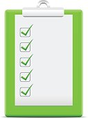 Green clipboard with a sheet of checkboxes