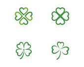 Green Clover Leaf   Template vector illustration