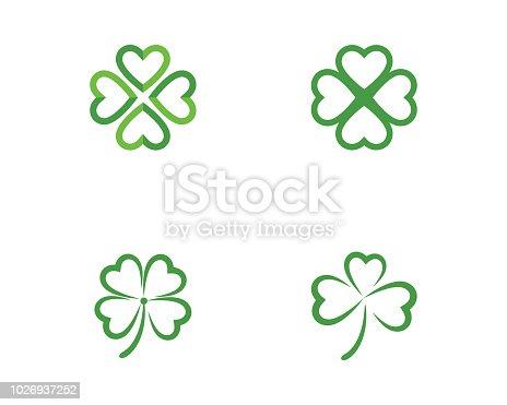 Green Clover Leaf Logo Template vector illustration