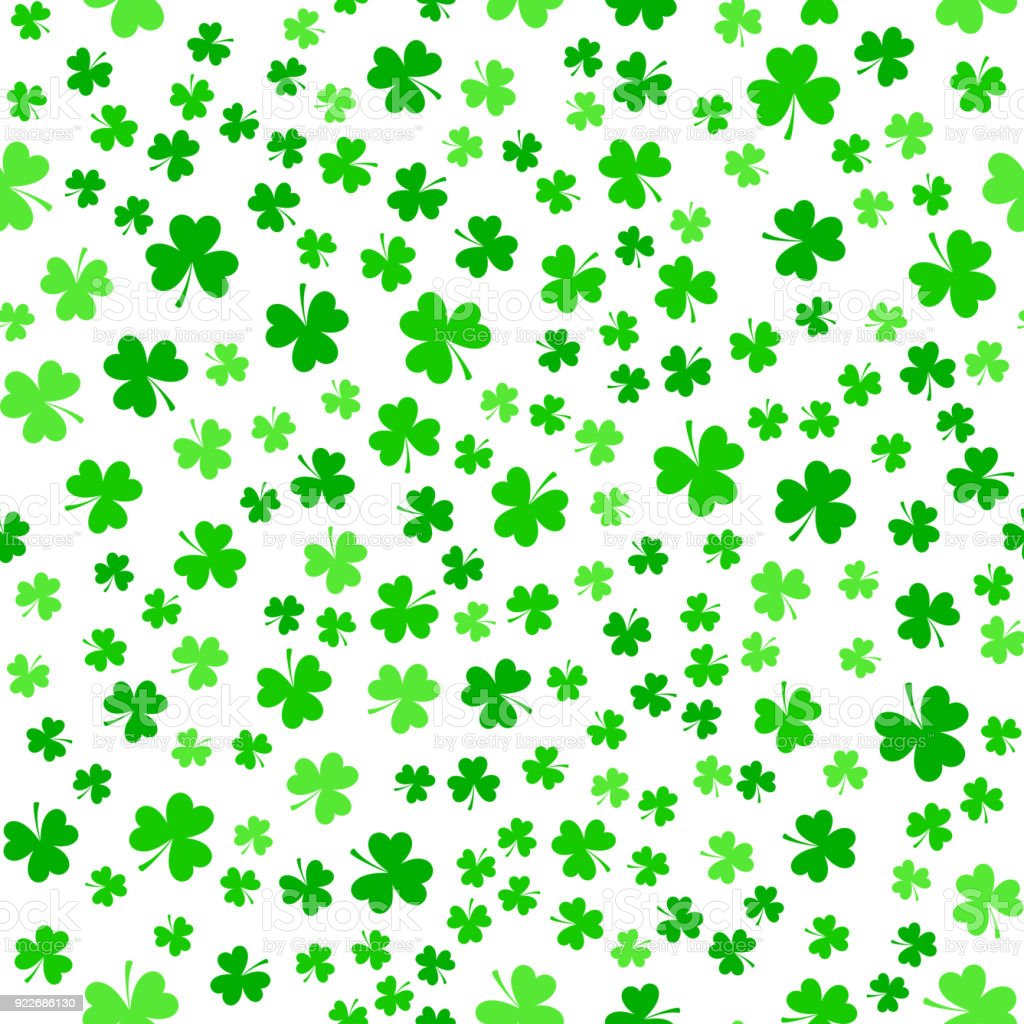 Green clover leaves, seamless pattern