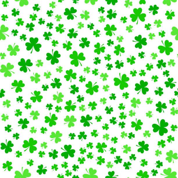 Green clover leaves, seamless pattern vector art illustration