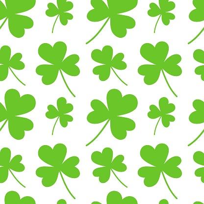 Green cloverleaf shamrock seamless pattern. Happy Saint Patricks day background design element. Festive greeting card decorative digital paper
