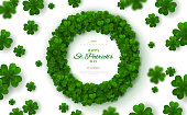 Green Clovers Frame on Bright Background