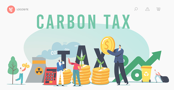 Green Co2 Taxes Landing Page Template. Tiny Characters at Huge Coins Piles with Sprouts and Factory Pipe Emitting Smoke