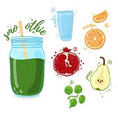 Green cocktail for healthy life. Smoothies with pear, pomegranate, orange and spinach. Recipe vegetarian organic smoothie in a glass jar. Template recipe card with detox drink for diet. Vector