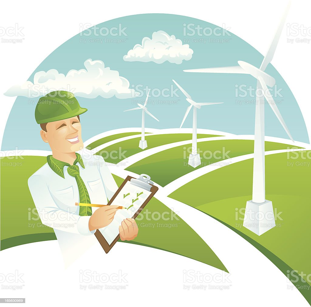 Green collar worker wind turbine royalty-free stock vector art