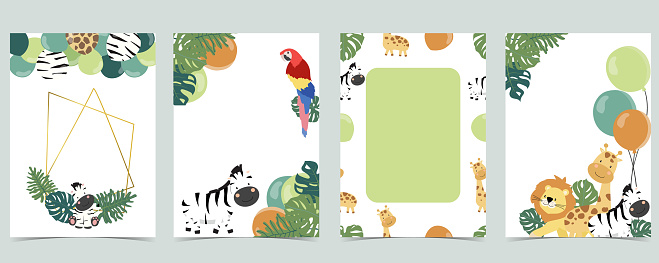 Green collection of jungle frame set with leaf,leaves,parrot,balloon vector illustration for birthday invitation,postcard and sticker