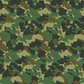 Green color abstract camouflage seamless pattern Vector background. Modern military style camo art design backdrop.
