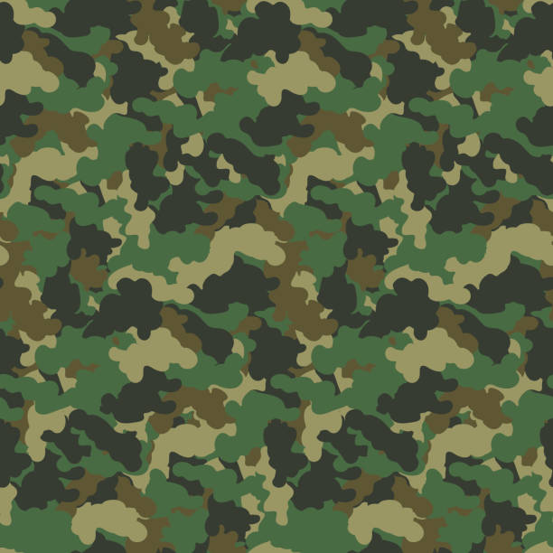 ilustrações, clipart, desenhos animados e ícones de verde cor abstrata camuflagem sem costura padrão de fundo vector. estilo militar moderno camo arte projeto pano de fundo. - forças armadas