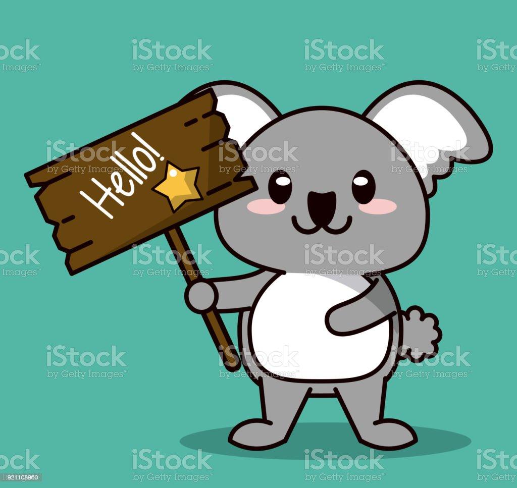 Fond De Couleur Verte Avec Commandes Animaux Koala Kawaii