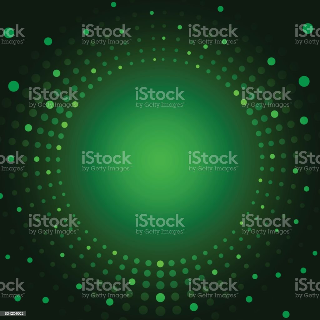 Green color background with fading white circles vector art illustration
