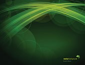 Vector of defocus glowing lights abstract theme with green color background.