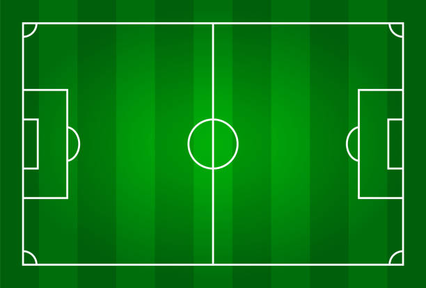 Green color football stadium field . vector art illustration