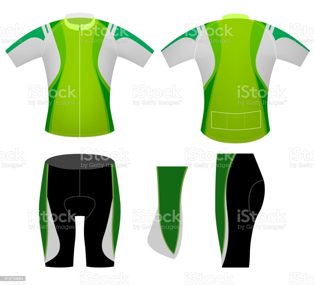 Green color sports cycling vest vector art illustration